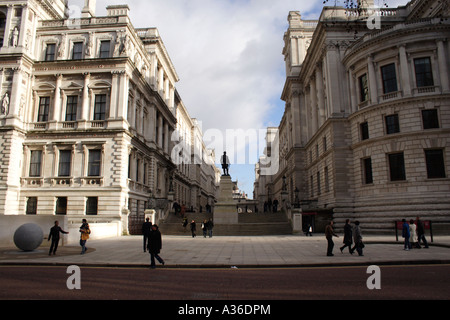 Statue of Clive of India London Foreign Office on left - Stock Image