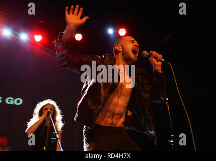 Prague, Czech Republic. 16th Jan, 2019. Russian artist and activist Maria Alyokhina (left) performs during the performance 'Pussy Riot presents Riot Days' in Prague, Czech Republic, on January 16, 2019. Credit: Michaela Rihova/CTK Photo/Alamy Live News - Stock Image