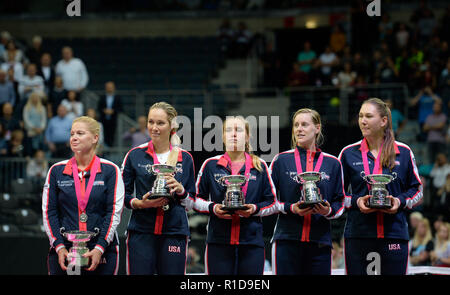 Prague, Czech Republic. 11th Nov, 2018. L-R US captain Kathy Rinaldi and US tennis players Danielle Collins, Sofia Kenin, Alison Riske and Nicole Melichar are seen after lost 2018 Fed Cup final match between Czech Republic and USA. Czech team won the tennis Fed Cup after Siniakova defeated Kenin, thanks to which they defeated the USA 3-0 in the final match at the O2 arena in Prague, Czech Republic, on November 11, 2018. Credit: Katerina Sulova/CTK Photo/Alamy Live News - Stock Image