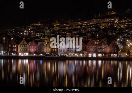 Long Exposure of Bryggen, Bergen at Night - Stock Image