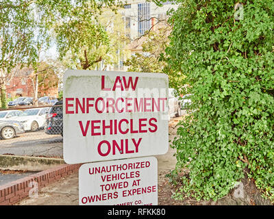 Law enforcement vehicle parking only sign or police vehicles only sign. - Stock Image