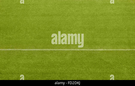 A white line dividing a grass playing surface - Stock Image