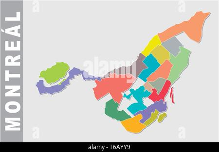 Colorful Montreal administrative and political map - Stock Image