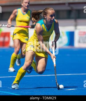 Krefeld, Germany, June 16 2019, hockey, women, FIH Pro League, Germany vs. Australia:  Emily Chalker (Australia) drives the ball. - Stock Image