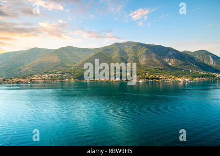 One of the many small hillside villages along the coast of the Bay of Kotor, Montenegro - Stock Image