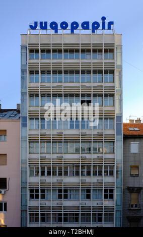 Jugopapir building in Viline Vode area of Belgrad, an example of brutalist architecture still remaining  in city. Belgrade, Serbia, October 3, 2017 - Stock Image