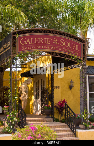 Fine Arts Gallery off Third Street outdoors Old Naples Florida Fl rich upscale shopping district - Stock Image