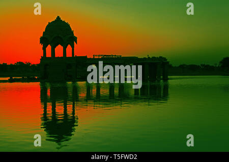 early morning at jaisalmaer gadisar lake,rajasthan,india - Stock Image