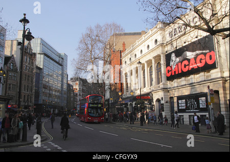Charing Cross Road London Garrick Theatre on right - Stock Image