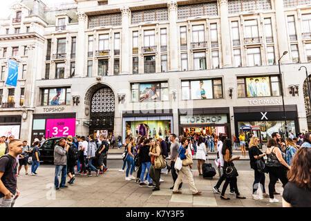 Topshop Topman store Oxford Street London, Topshop store, topman store, clothing store, topsop, topman, Oxford street London, Topshop sign Topman sign - Stock Image