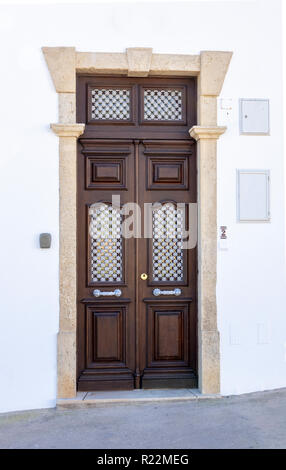 A Portuguese House Wooden Front Door In Albufeira The Algarve Portugal - Stock Image