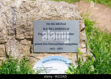 Plaque on Peak Hill commemorating famous resident, author R F Delderfield in Sidmouth, a popular south coast seaside town in Devon, south-west England - Stock Image