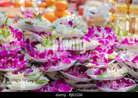 Taipei, Taiwan, Feb. 5, 2019: A huge pile of plates with lotus flowers are placed on an offering table at Longshan Temple in Taipei on Tuesday, Lunar New Year's Day and the first day of the Year of the Pig. Credit: Perry Svensson/Alamy Live News - Stock Image