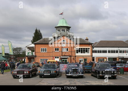 Bentleys and Daimler Limousine, British Marques Day, 28 April 2019, Brooklands Museum, Weybridge, Surrey, England, Great Britain, UK, Europe - Stock Image