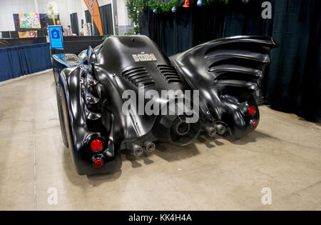 Rear view of Batmobile on display at the Canadian Pet Expo in Toronto Ontario Canada - Stock Image