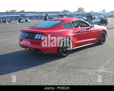 Ford Mustang 5.0 litre liter shown at donnington park race circuit at the RS owners club national day - with crowds round - Stock Image
