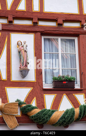 Half-timbered building, Mainz, Rhineland-Palatinate, Germany - Stock Image