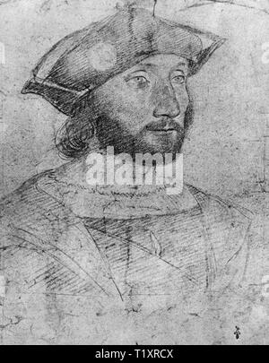 fine arts, Jean Clouet (1480 - 1541), drawing, Guillaume Gouffier, seigneur, Additional-Rights-Clearance-Info-Not-Available - Stock Image