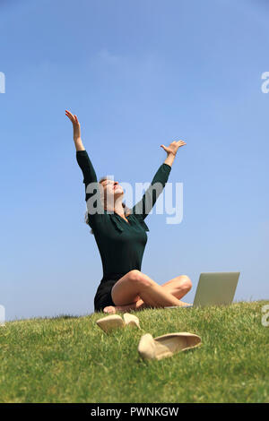 Young woman taking a break. - Stock Image