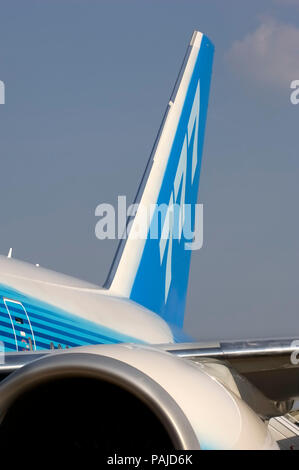 engine and tail on Boeing 777-240LR at the 2005 Paris AirShow, Salon-du-Bourget - Stock Image