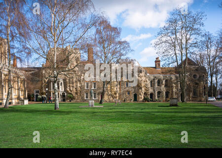 Bury St Edmunds Cathedral Grounds, view of renovated medieval buildings (formerly part of the old Abbey), sited in Cathedral Grounds, Bury St Edmunds - Stock Image