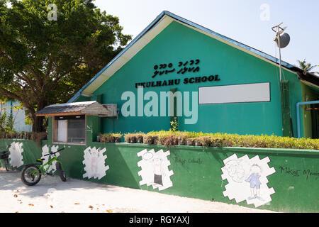Maldives school - Ukulhahu School, exterior, Ukulhas island, Alif Alif atoll, the Maldives Asia - Stock Image