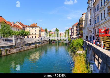 Ljubljana, Čevljarski Most. Slovenia, 27th July 2018 - Stock Image