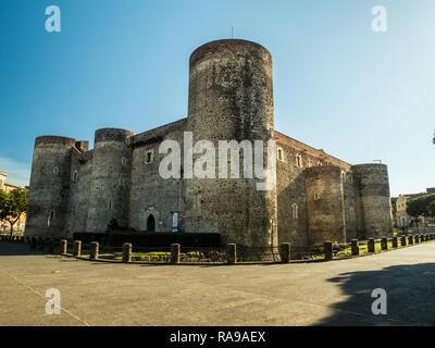 Ursino Castle in Catania, Sicily, Italy - Stock Image