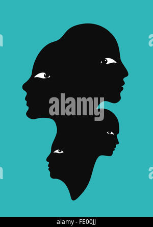 All in one observing each other - Stock Image