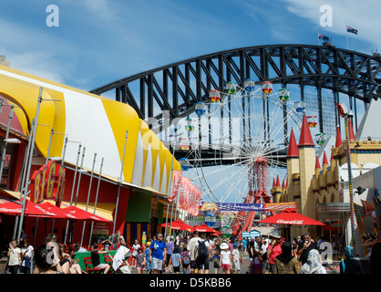 Luna Park Sydney with the harbour bridge as a backdrop Australia - Stock Image