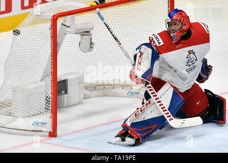 Patrik Bartosak (CZE) receives third goal during the match between Czech Republic and Switzerland within the 2019 IIHF World Championship in Bratislava, Slovakia, on May 21, 2019. (CTK Photo/Vit Simanek) - Stock Image