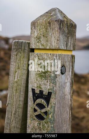 Scottish waymark post close to Poolewe, Scotland. - Stock Image
