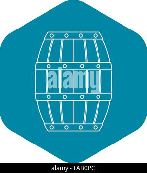 Wooden barrel icon, outline style - Stock Image