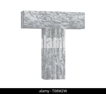 Concrete Capital Letter - T isolated on white background. 3D render Illustration - Stock Image