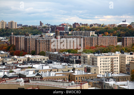 Low-rise apartments and housing projects in the Inwood section of Manhattan, New York, NY, USA - Stock Image