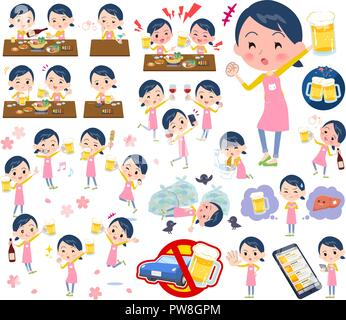 A set of Childminder women related to alcohol.There is a lively appearance and action that expresses failure about alcohol.It's vector art so it's eas - Stock Image