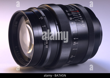 Old camera lens russian Carl Zeiss copy Jupiter-9 85/2 - Stock Image