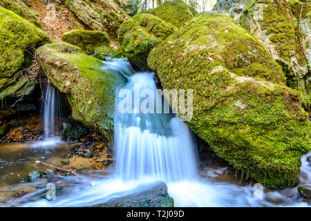 Luxemburg, Mullerthal hiking along river with waterfall - Stock Image