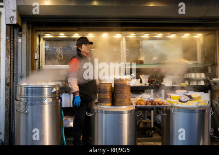 A Chinese woman working outdoors in the winter over large steamers. In Chinatown, downtown Flushing, New York City. - Stock Image
