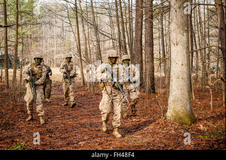 Candidates assigned to Delta Company, Officer Candidates Class-221, are evaluated as members of a fire team during - Stock Image