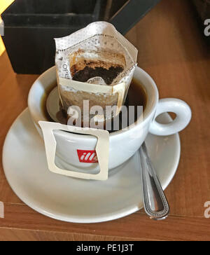 Illey Expresso Tea bag - Coffee Pod in a cup - Stock Image