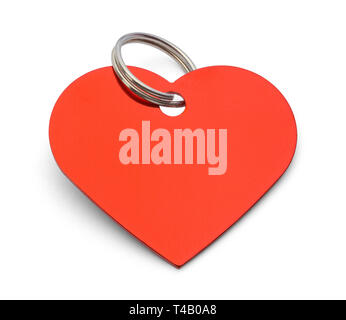 Blank Red Heart Dog Tag Isolated on White Background. - Stock Image