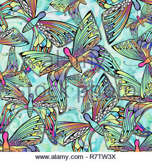Full frame backgrounds pattern of iridescent butterflies - Stock Image