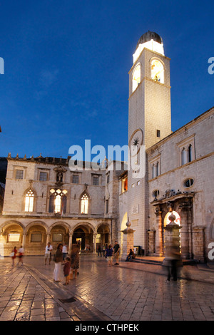Luza Square and Sponza Palace, Old city Center of Dubrovnik in the evening , Croatia - Stock Image