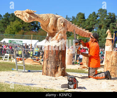 Raimondas Ubdravis & his winning entry at the Scottish Chainsaw Carving competition, held on Saturday 2nd September at Cartridge, Inverness-shire. - Stock Image