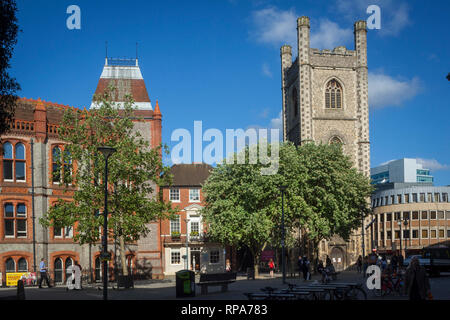 Reading Town Hall and St. Laurence Church in Reading, Berkshire. - Stock Image