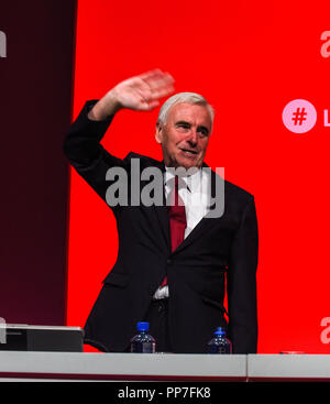 Liverpool, UK. 24th September, 2018. John McDonnell Shadow Chancellor of the Exchequer  Speaking at the TUC Conference Manchester ©copyright Della Batchelor  08731 361 937 della@dbphoto-mail.co.uk COMPULSARY Credit Della Batchelor all rights reserved, Moral rights under copyright  Design and patent act 1988. no part of this photograph to be shared reproduced or transmitted without permission. photographs for editoria use only Credit: Della Batchelor/Alamy Live News - Stock Image