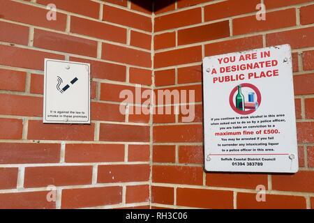 Designated public place. Woodbridge, Suffolk, UK. January 2019. - Stock Image