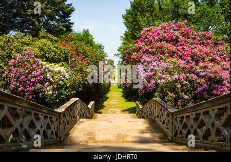 Stairs in Hever Gardens, Hever Castle & Gardens, Hever, Edenbridge, Kent, England, United Kingdom - Stock Image