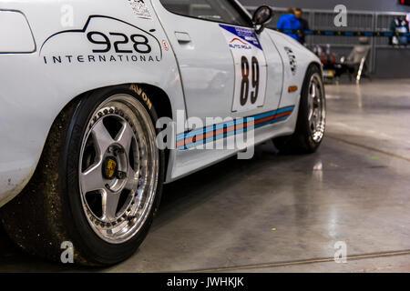 Bielsko-Biala, Poland. 12th Aug, 2017. International automotive trade fairs - MotoShow Bielsko-Biala. Side view of an old Porsche 911. Credit: Lukasz Obermann/Alamy Live News - Stock Image